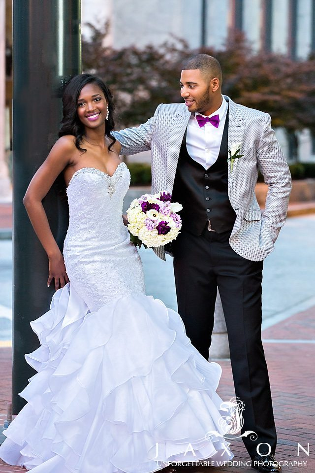 Bride and groom outside the Venetian Room Atlanta Wedding