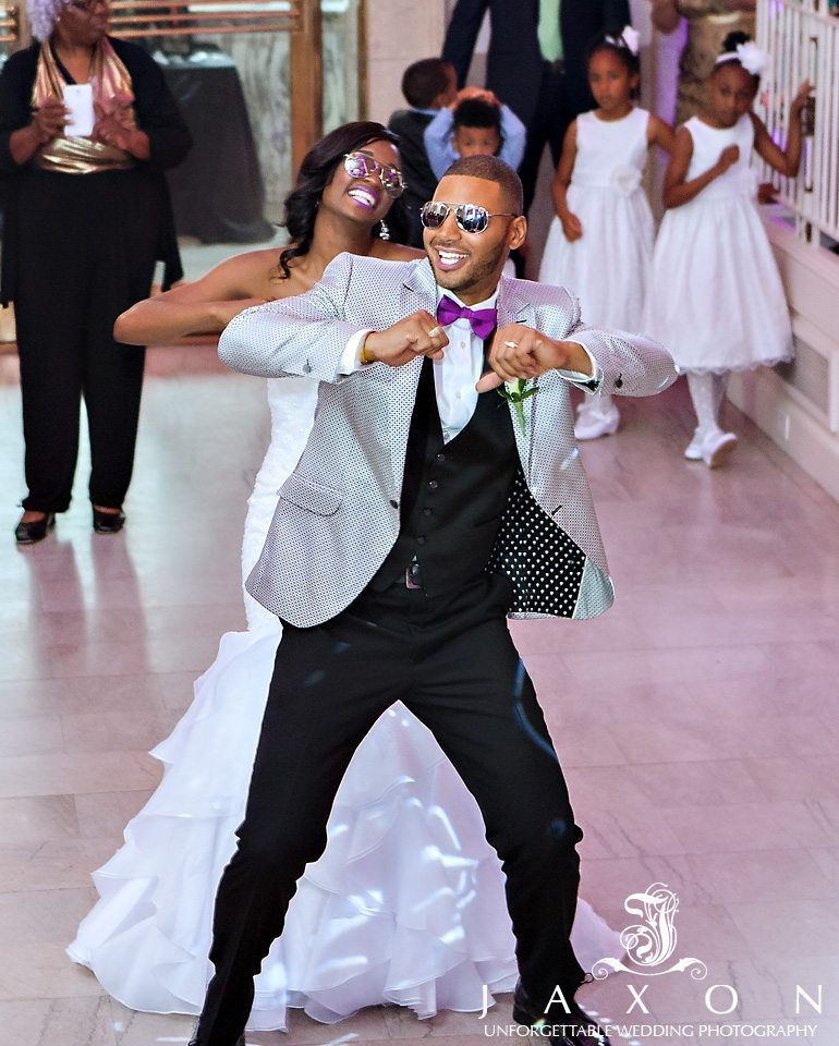 wedding couple's very funky first dance at their Venetian Room Atlanta Wedding