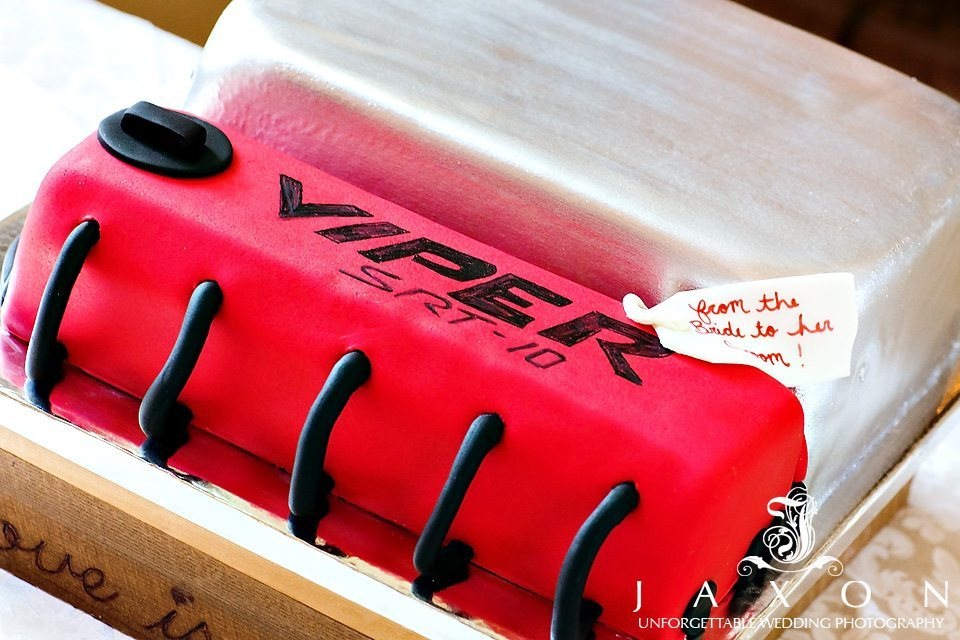 unusual, creative, Groom's cake in the shape of an engine block of the Viper SRT 10