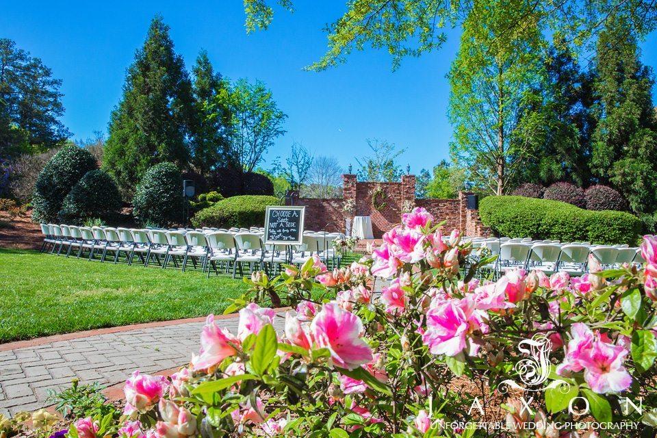 Azalea ringed gardens decorated for wedding ceremony at Carl House in Auburn GA