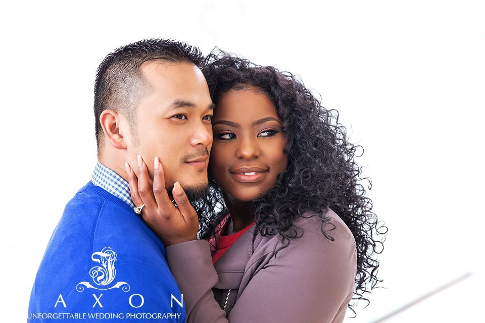 Close up portrait of mixed race couple during their engagement photography session