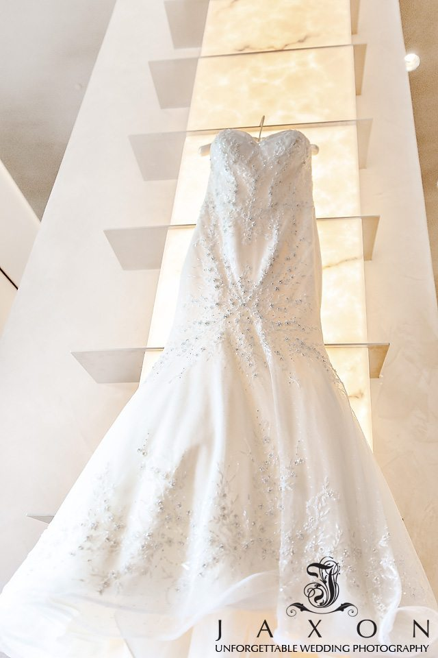 Matthew Christopher 'Brielle' strapless sweetheart soft fit and flare trumpet silhouette with ethereal skirt and beaded bodice gown Brides Dress in the Lobby at Loews Hotel in Midtown Atlanta
