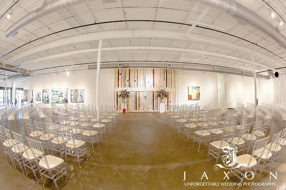 The event space at Mason Fine Art decked out with clear resin chiavari chairs