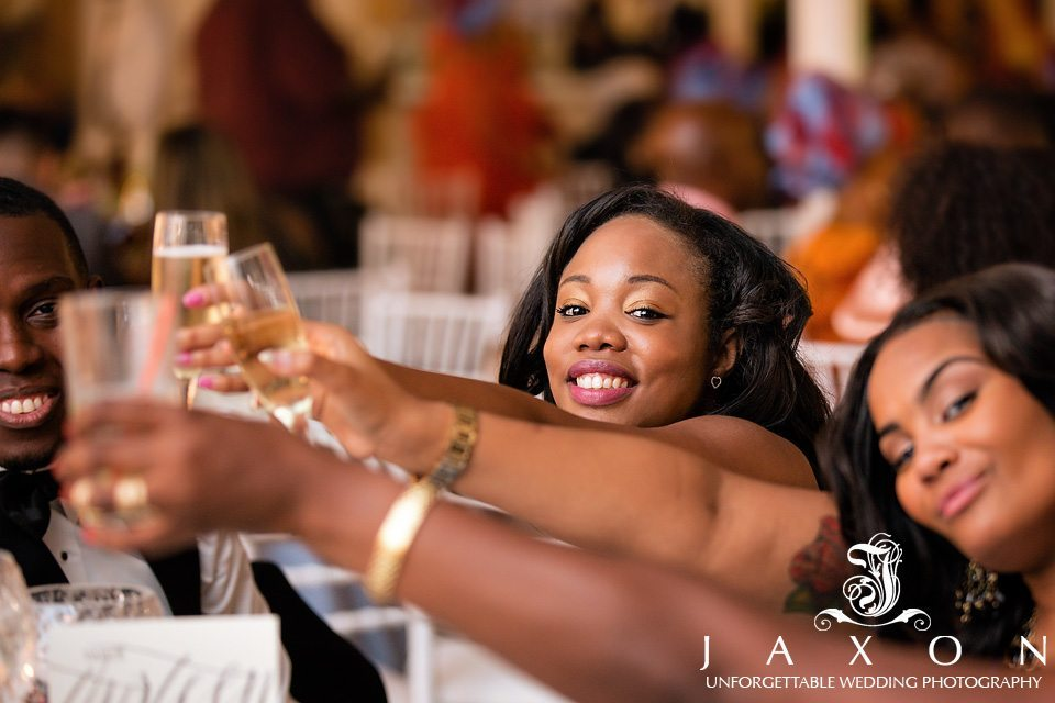Guests toast couple during reception