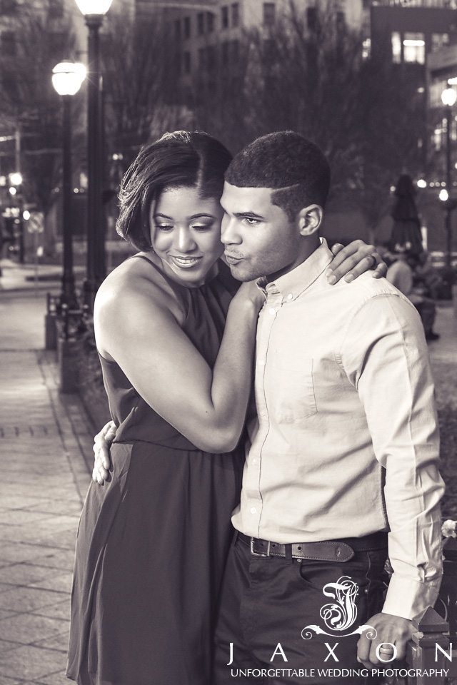 Sepia Portrait of couple street side at Woodruff Park Atlanta