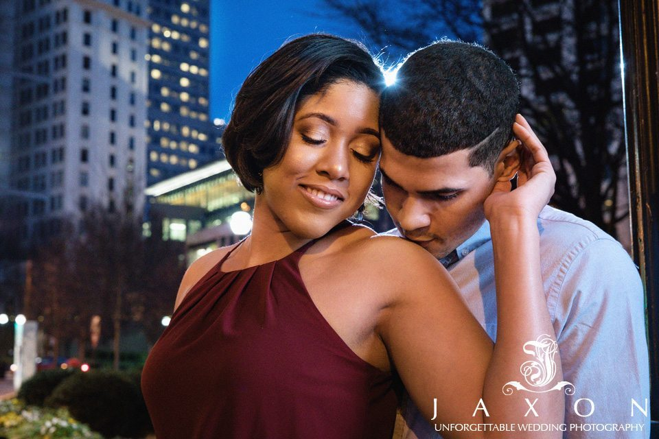 Downtown Atlanta night time engagement photo session