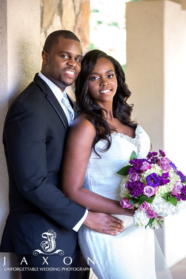 Bride and Groom outside the ATLANTA NORTH SEVENTH-DAY ADVENTIST CHURCH on their wedding day