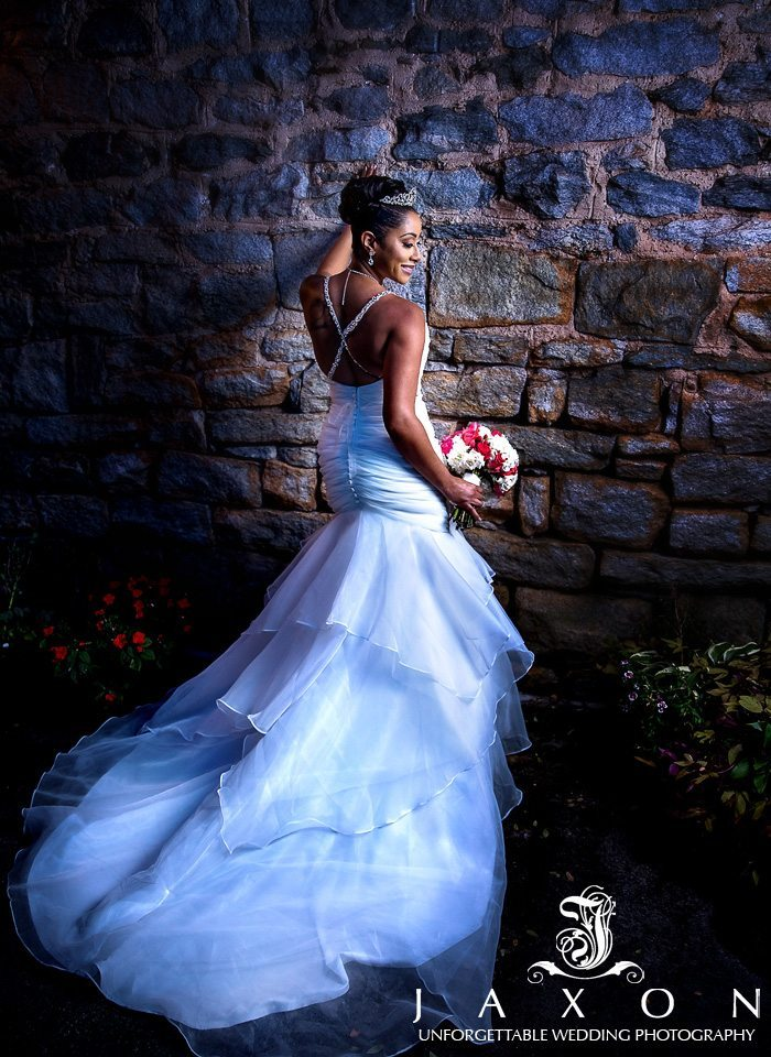 Bride on the patio at 550 Trackside
