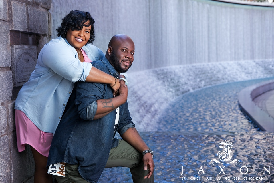 Couple next to the waterfall at Woodruff Park downtown Atlanta