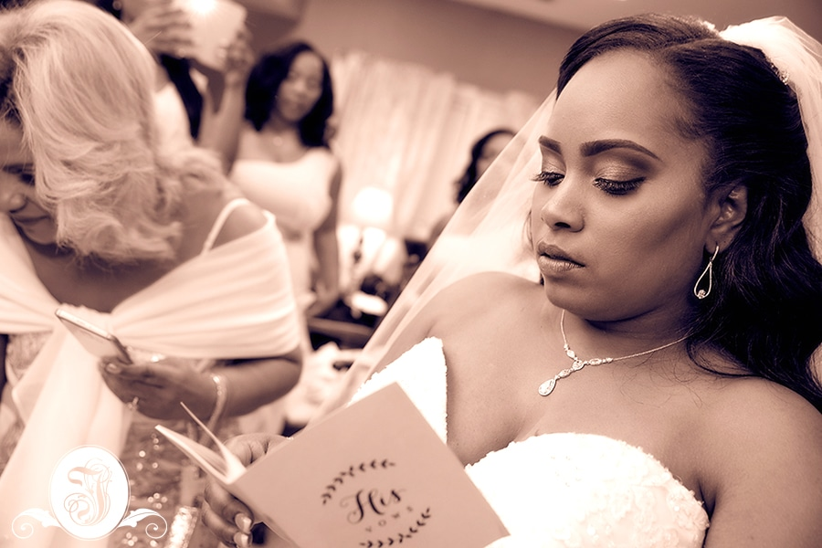 Bride reads message from groom