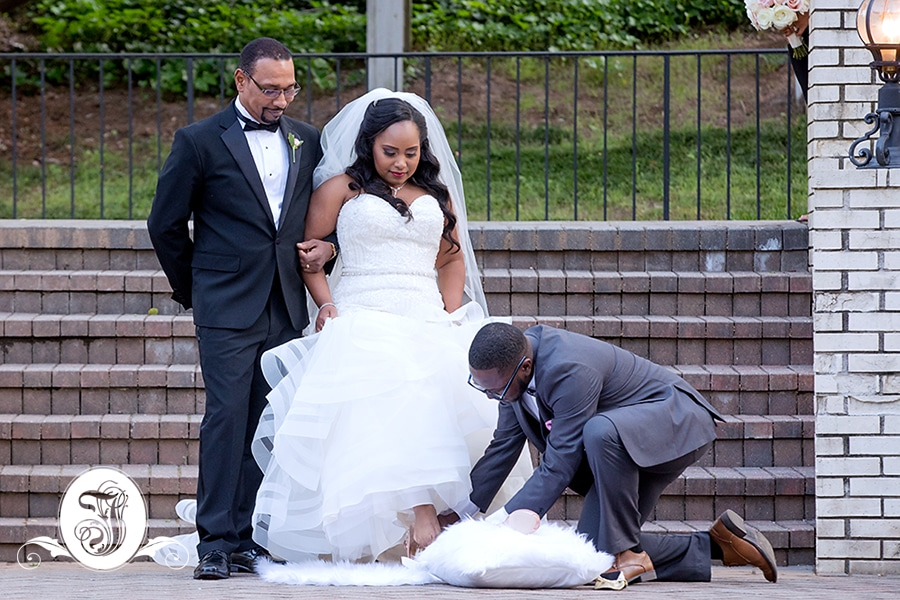 bride swaps her ballerina slippers for a pair of Jewel peep-toe pumps by Antonio Melani